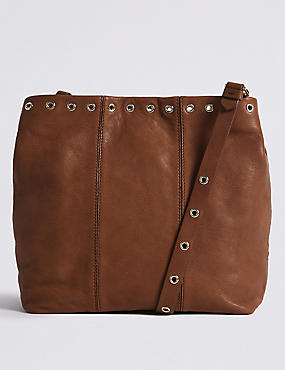 Leather Eyelet Slouch Across Body Bag