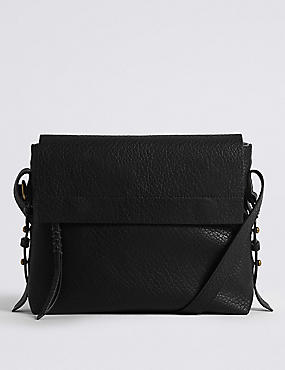 Faux Leather Grainy Messenger Bag