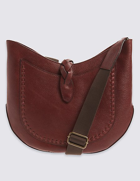 Leather Plait Detail Saddle Bag