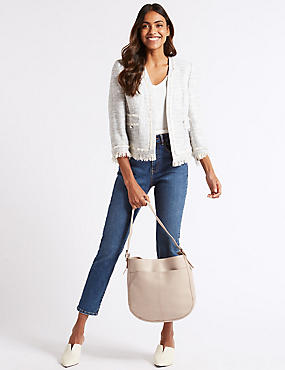 Leather Hobo Bag, NUDE, catlanding