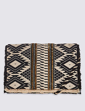 Aztec Print Hand Embellished Clutch Bag with Strap