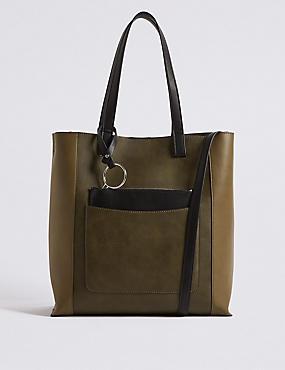 Colour Block Tote Bag , , catlanding