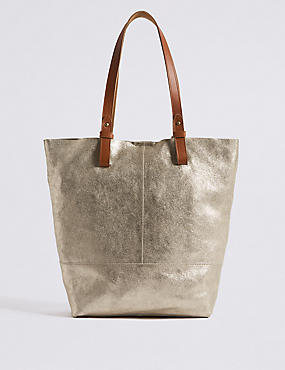 Suede Metallic Shopper Bag