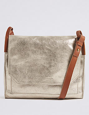 Suede Metallic Cross Body Bag