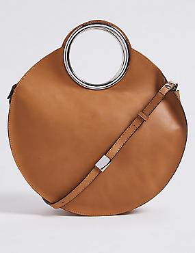 Faux Leather Circle Handle Cross Body Bag