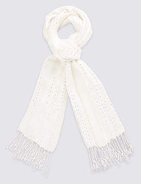 Sequin Embellished Striped Scarf