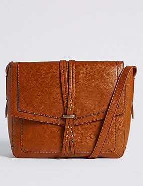 Leather Pin Stud Messenger Bag