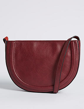 Faux Leather Half Moon Across Body Bag