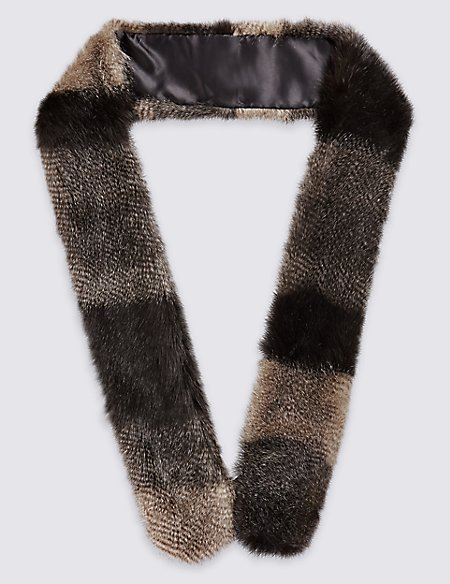 Patchwork Long Faux Fur Skinny Scarf