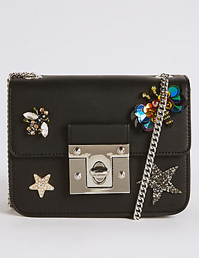 Faux Leather Embellished Across Body Bag
