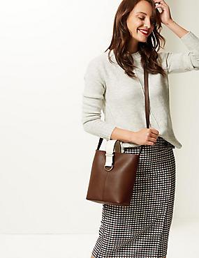 Faux Leather Cross Body Bag, CHOCOLATE, catlanding