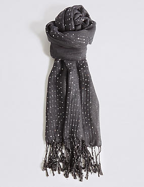 Sequin Striped Scarf, CHARCOAL, catlanding