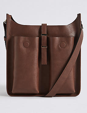 Faux Leather Metal Tab Messenger Bag