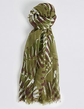 Palm Print Scarf , GREEN MIX, catlanding