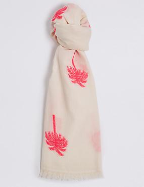 Cotton Rich Palm Jacquard Print Scarf, CREAM MIX, catlanding