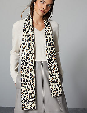 Pure Cashmere Animal Print Scarf , BROWN MIX, catlanding