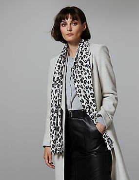 Pure Cashmere Animal Print Scarf , GREY MIX, catlanding
