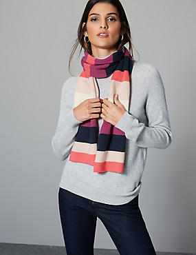 Pure Cashmere Striped Scarf  , PINK MIX, catlanding