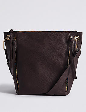 Faux Leather Messenger Bag