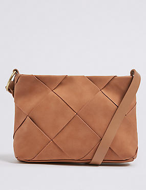 Faux Leather Woven Cross Body Bag