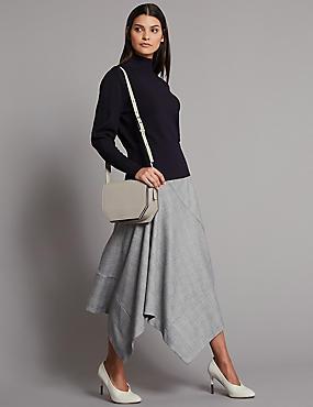Leather Cross Body Bag, GREY/WHITE, catlanding