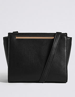 Faux Leather Bar Cross Body Bag