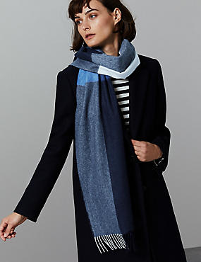 Pure Cashmere Checked Scarf, NAVY MIX, catlanding
