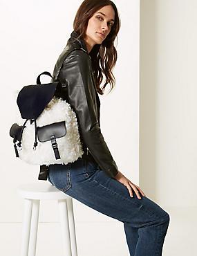 Faux Fur Backpack Bag, , catlanding