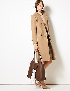 Faux Leather Shoulder Bag, CHOCOLATE, catlanding
