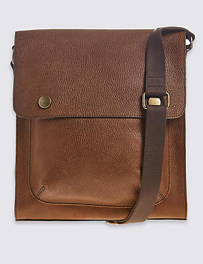 Leather Press Stud Messenger Bag