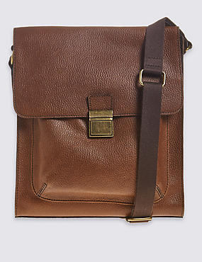 Leather Push-Lock Messenger Bag