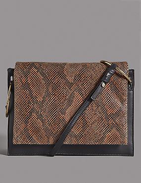 Leather Ring Shoulder Bag, BROWN MIX, catlanding