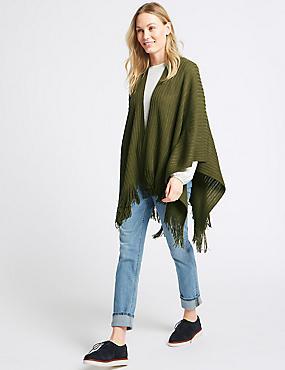 Knitted Wrap, KHAKI, catlanding