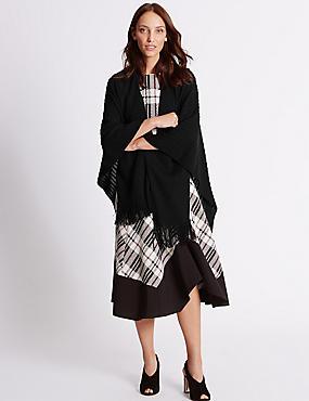 Knitted Wrap, BLACK, catlanding