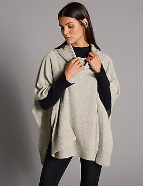 Pure Cashmere Ribbed Funnel Neck Wrap