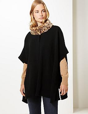 Animal Print Knitted Wrap, BLACK MIX, catlanding