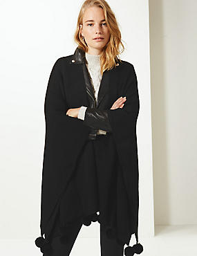 Textured Pom-Pom Knitted Wrap, BLACK MIX, catlanding