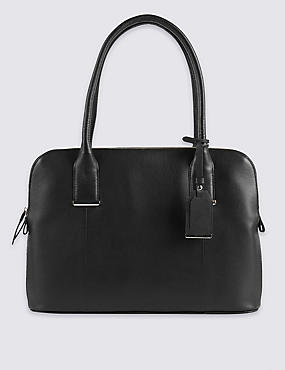 Leather Tote Bag with Zipped Padded Laptop Compartment
