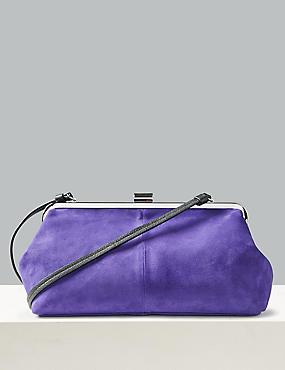 Oversized Suede Clutch Bag, ELECTRIC PURPLE, catlanding