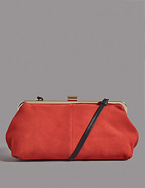Oversized Suede Clutch Bag, FLAME, catlanding