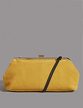 Oversized Suede Clutch Bag, YELLOW, catlanding