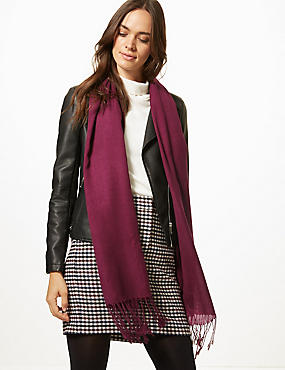 Modal Rich Pashminetta Scarf, MULBERRY, catlanding