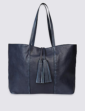 Leather Tassel Shopper Bag