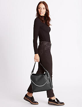 Faux Leather Chain Slouch Hobo Bag