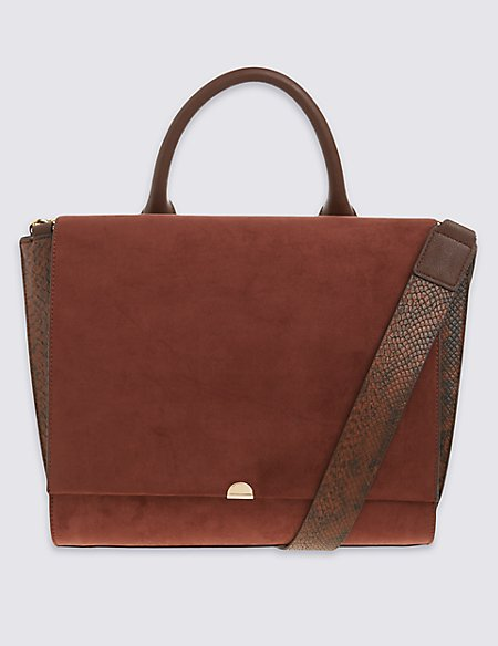 Faux Leather Handle Tote Bag
