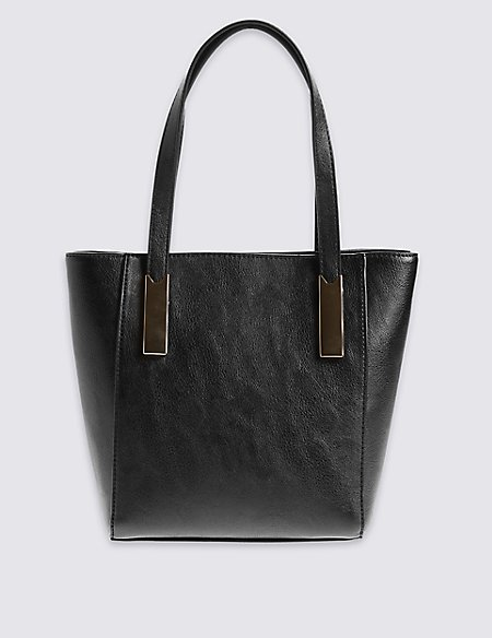 Faux Leather Mini Plate Tote Bag