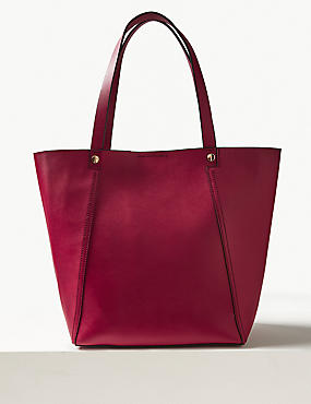 Faux Leather Tote Bag, CERISE, catlanding
