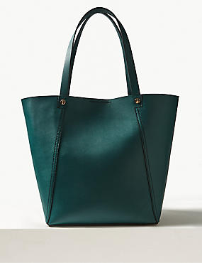 Faux Leather Tote Bag, TEAL, catlanding
