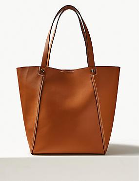 Faux Leather Tote Bag, TAN, catlanding