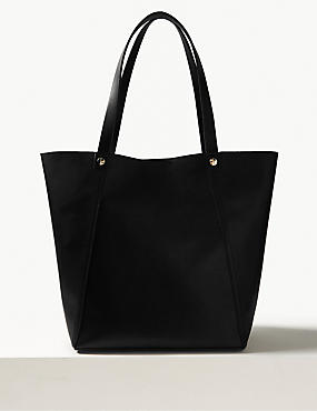 Faux Leather Tote Bag, BLACK, catlanding